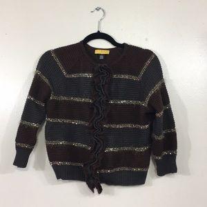 SoCa St. John Wool Cashmere Stripe Ruffle Cardigan